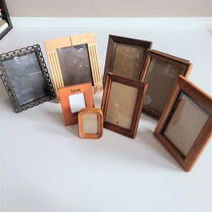8 picture frames various sizes.